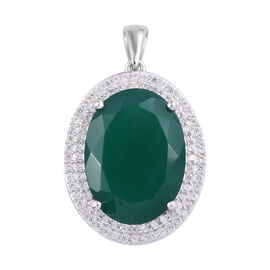 14 Carat Verde Onyx and Cambodian Zircon Halo Pendant in Sterling Silver 5.02 Grams