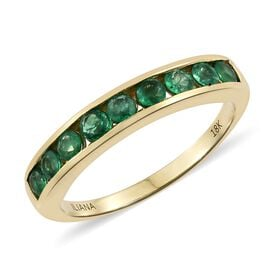 ILIANA 18K Yellow Gold AAA Premium Santa Terezinha Emerald (Rnd) Half Eternity Band Ring 1.00 Ct.