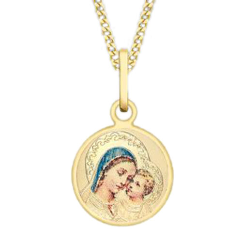 9K Yellow Gold Madonna and Child Pendant