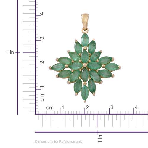9K Yellow Gold Kagem Zambian Emerald (Mrq) Pendant 4.500 Ct