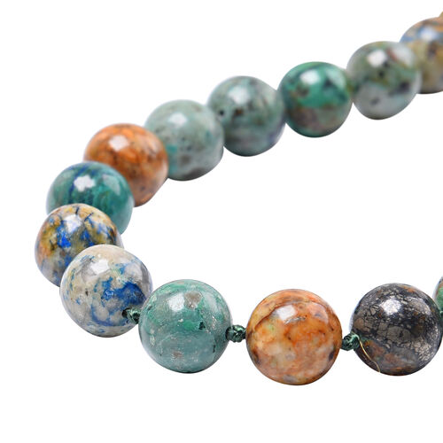 Chrysocolla Beaded Necklace (Size 20) with Magnetic Lock in Rhodium Overlay Sterling Silver 310.50 Ct.