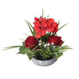 1 Head Hydrangea and 3 Heads Roses Decorative Flower Arrangement in Ceramic Pot (Height: 30Cm) - Red