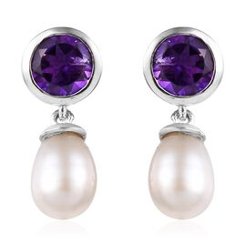Amethyst (Rnd), Freshwater Pearl Earrings (with Push Back) in Platinum Overlay Sterling Silver 5.75