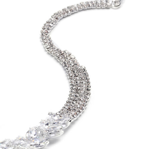 2 Piece Set - Simulated Diamond and White Austrian Crystal Necklace and Drop Earrings in Silver Tone