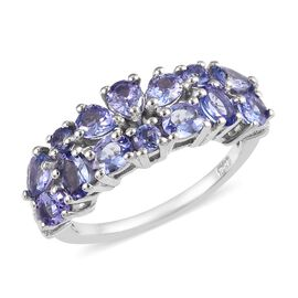 Tanzanite Ring in Platinum Overlay Sterling Silver 2.00 Ct.