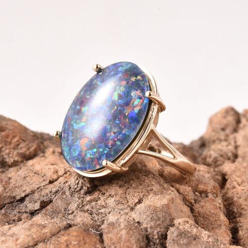 9K Yellow Gold AAA Australian Boulder Opal (Ovl 20x15mm) Solitaire Ring