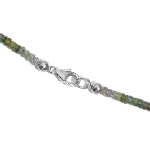 Brazilian Rainbow Tourmaline Beads Necklace (Size 18) in Platinum Overlay Sterling Silver 45.00 Ct.