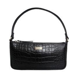 Assots London ZARA 100% Genuine Leather Croc Embossed Handbag - Black