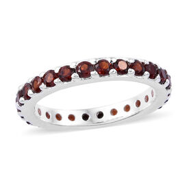 One Time Deal- Mozambique Garnet (Rnd) Full Eternity Band Ring in Sterling Silver 1.500 Ct.