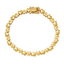 14K Gold Overlay Sterling Silver Heart Link Bracelet (Size 7.5), Silver wt 11.00 Gms