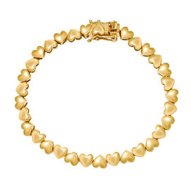 Heart Bracelet in Gold Plated Sterling Silver 7.5 Inch