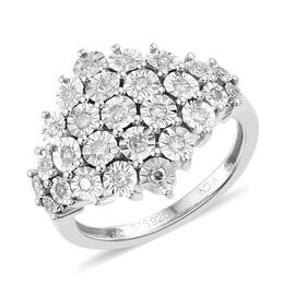 0.25 Carat Diamond Cluster Ring in Sterling Silver 4.5 Grams