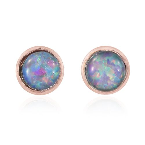 Australian Boulder Opal (Rnd) Stud Earrings (with Push Back) in Rose Gold Overlay Sterling Silver 0.750 Ct.