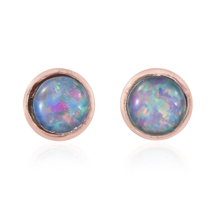 Australian Boulder Opal Rnd Stud Earrings With Push