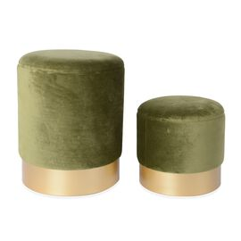 Set of 2 - Wooden Stool with Storage Box (Size L 35x35x44 Cm), (Size S 30x30x33) - Olive Green