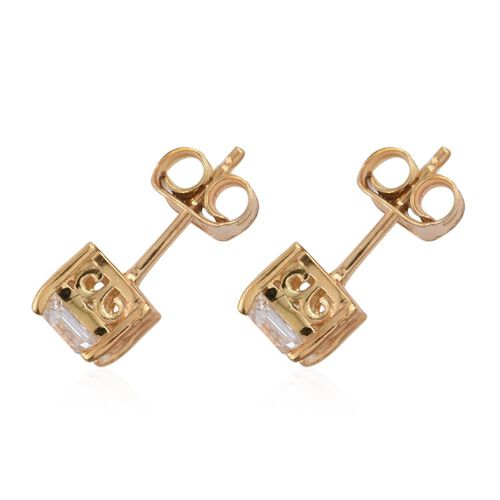 Set of 3 - J Francis - 14K Gold Overlay Sterling Silver (Rnd, Sqr and Trl) Stud Earrings (with Push Back) Made with SWAROVSKI ZIRCONIA