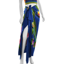 Blue Colour Floral Pattern Hand Painted Sarong