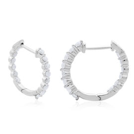 9K White Gold SGL Certified Diamond (Rnd) (I3/G-H) Hoop Earrings (with Clasp) 0.50 Ct.