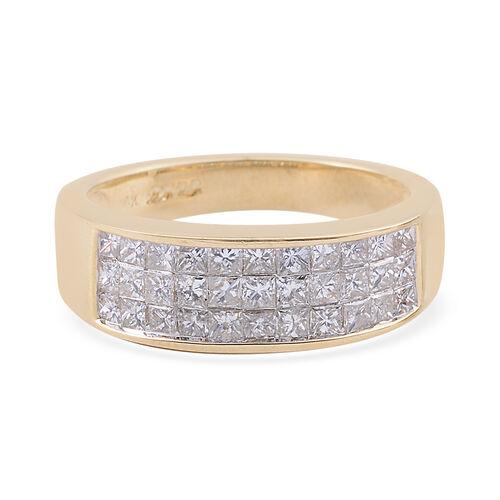 14K Yellow Gold (I1-I2/G-H) Diamond (Sqr) Band Ring 1.000 Ct.