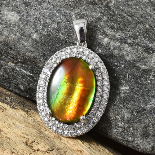 AA Canadian Ammolite (Ovl 18x13 mm), Natural White Cambodian Zircon Pendant in Platinum Overlay Sterling Silver.