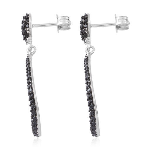 Exclusive Edition Designer Inspired-Boi Ploi Black Spinel (Rnd) Tear Drop Earrings (with Push Back) in Rhodium Plated Sterling Silver 6.250 Ct. 206 Black Spinel Stones