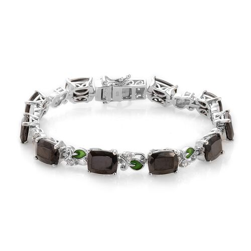 14.50 Ct Elite Shungite and Zircon Tennis Design Bracelet in Platinum Plated Silver 7 Inch