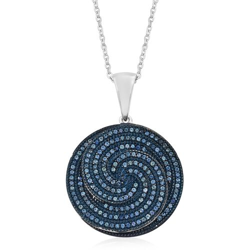 Kanchanaburi Blue Sapphire (Rnd) Spiral Pendant with Chain in Blue and Platinum Overlay Sterling Silver 3.000 Ct. Silver wt. 8.00 Gms. Number of Gemstone 188.