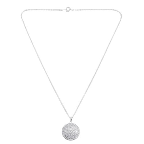 Simulated Diamond (Rnd) Pendant with Chain in Silver Plated.