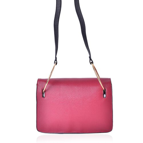 Red Colour Shoulder Bag with Metallic Hoop Attached Shoulder Strap (Size 27X19X8 Cm)