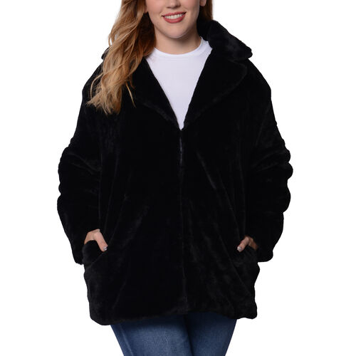 Soft and Smooth Faux Fur Coat (Size M; 55x76 Cm) - Black