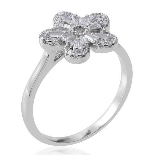 ELANZA Simulated White Diamond (Bgt and Rnd) Flower Ring in Rhodium Plated Sterling Silver