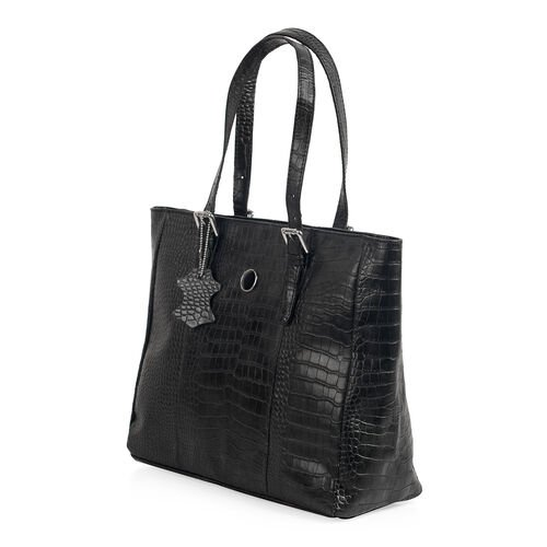 Close Out Deal 100% Genuine Leather Snake Skin Embossed Black Colour Tote Handbag with Shoulder Strap (40x35x12.5x25 Cm)