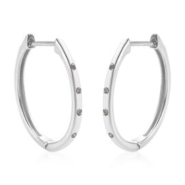 Diamond (Rnd) Hoop Earrings (with Clasp) in Platinum Overlay Sterling Silver