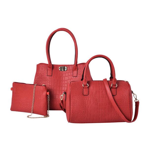 Set of 3 - Crocodile Skin Pattern Tote Bag (34x26x13.5cm), Satchel Bag with Detachable Shoulder Stra