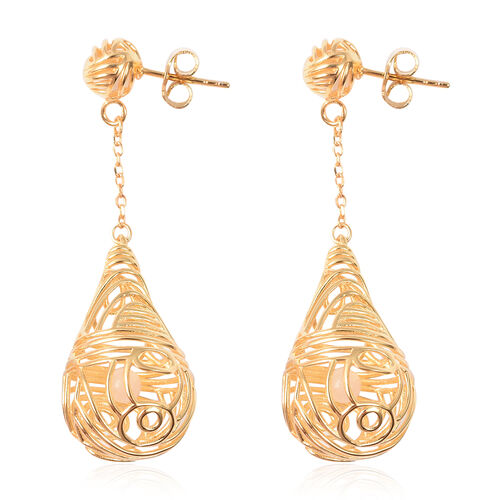 Isabella Liu Sea Rhyme Collection - White Mother of Pearl (Rnd) Dangle Earrings (with Push Back) in Yellow Gold Overlay Sterling Silver