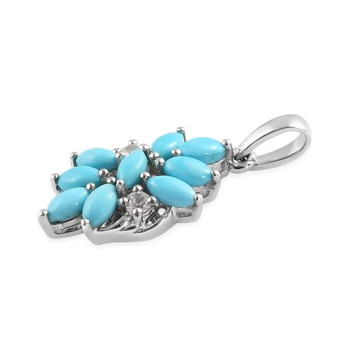 Arizona Sleeping Beauty Turquoise and Natural Cambodian Zircon Floral Pendant in Platinum Overlay Sterling Silver 1.00 Ct.