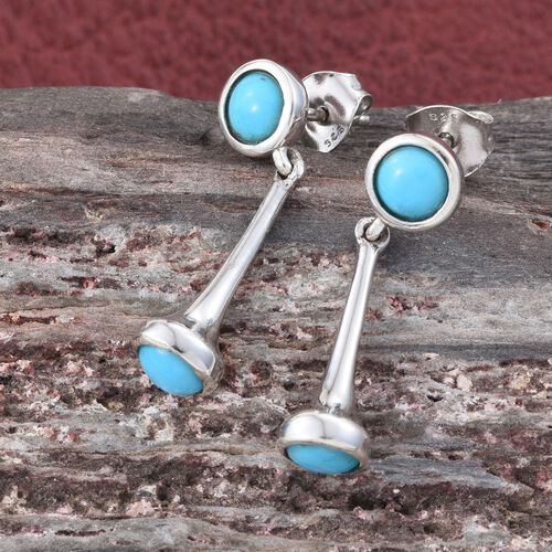 Arizona Sleeping Beauty Turquoise (Rnd) Earrings (with Push Back) in Platinum Overlay Sterling Silver 1.500 Ct.