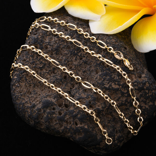 Close Out Buy - 9K Yellow Gold Figaro Necklace (Size 18)