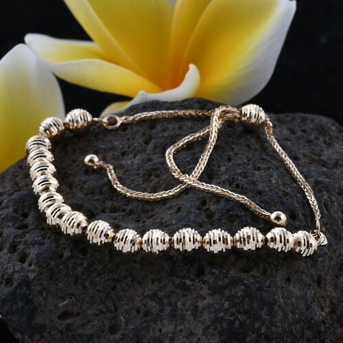 Royal Bali Collection 9K Yellow Gold Diamond Cut Bead Bracelet (Size 6.5 - 9.5 Adjustable).Gold Wt 3.46 Gms