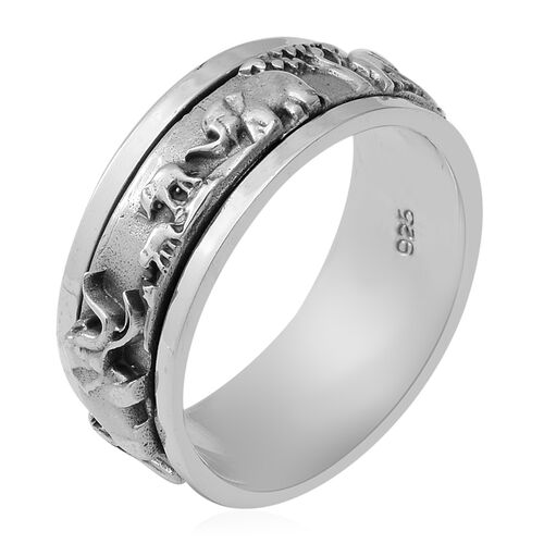 Sterling Silver Elephant Family Band Ring, Silver wt 6.90 Gms