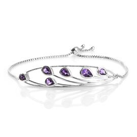 WEBEX- Bolivian Amethyst (Pear) Feather Bracelet (Size 7.5) in Platinum Overlay Sterling Silver 2.000 Ct, Silver wt. 10.63