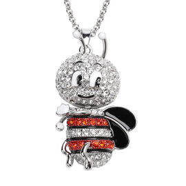 Orange and White Austrian Crystal Enamelled Cute-Bee Pendant With Chain (Size 29 with 2.5 inch Exten