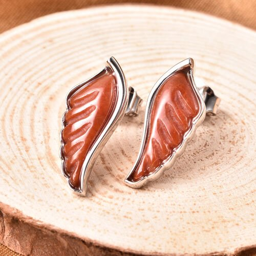 Isabella Liu Angel Wing Collection - Carved Red Jade Earrings (with Push Back) in Rhodium Overlay Sterling Silver 6.55 Ct.