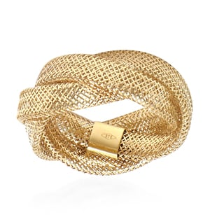 Italian Made - 9K Yellow Gold Stretchable Trinity Mesh Ring