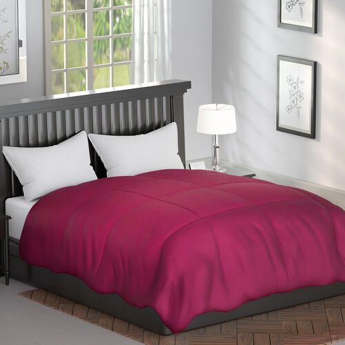 Serenity Night - Mulberry Silk Duvet with Square Quilting (Size King 225x220cm)- Magenta
