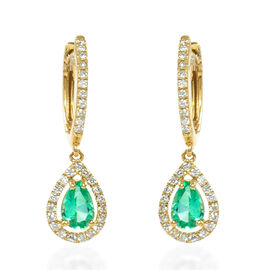 ILIANA 18K Yellow Gold AAA Boyaca Colombian Emerald (Pear), Diamond (SI/G-H) Earrings (with Clasp Lo