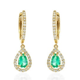 ILIANA 1.04 AAA Colombian Emerald and Diamond Halo Drop Earrings in 18K Gold 2.74 Grams SI GH