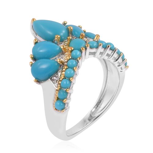AA Arizona Sleeping Beauty Turquoise (Pear), Natural White Cambodian Zircon Crown Ring in Rhodium and Yellow Gold Overlay Sterling Silver 2.400 Ct.