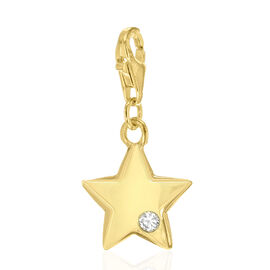 Simulated Diamond (Rnd) Star Charm in Yellow Gold Overlay Sterling Silver