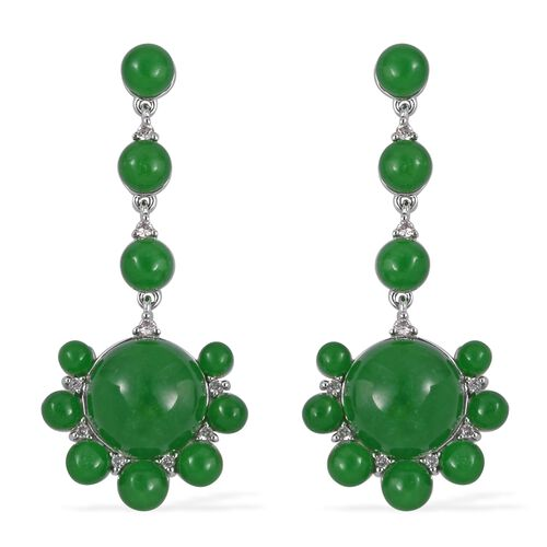 Green Jade (Rnd), Natural Cambodian White Zircon Drop Earrings (with Push Back) in Rhodium Overlay S